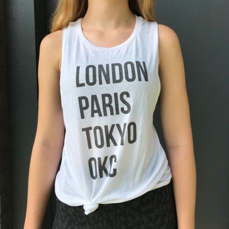 london paris tokyo okc white tank top - stark and basic - close up